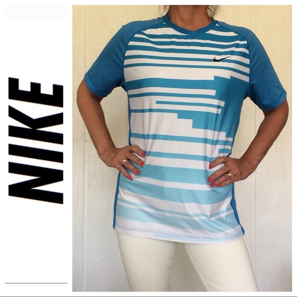 Nike Other - NIKE GRAPHIC DRI FIT SHIRT BLUE AND WHITE MEDIUM